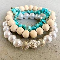 Bangle Multi Layered Imitation Pearls Crystal Beads Adjustable Elastic Bracket For Women Turquoise Stone Wooden Bangles Wholesale