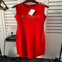 sleeveless cotton Bmain lady's dress of slimming turtleneck One-step conjoined skirt with letter design and gold buckle for women _yw