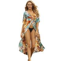 Pamuk ön bölünmüş güneş koruyucu plaj hırka mayo kapak up seksi v yaka baskı bikini ceket yaz tatil kadın uzun elbise kadın yüzmek