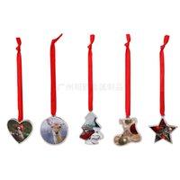 5 Formen DIY leerer Sublimation Weihnachtsbaum Anhänger Weihnachtsbaum Dekorationen Legierung Herz Runde Schuh Stern Formbehänge FY4754