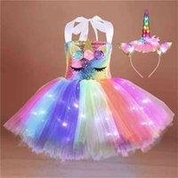 Sevimli Aydınlık Unicorn Kız Yaz Elbise Moda LED Çocuk Cadılar Bayramı Prenses Gökkuşağı Elbiseler + Saç Band Suit Parti Kolsuz Çocuk Giysileri G89AV5Z
