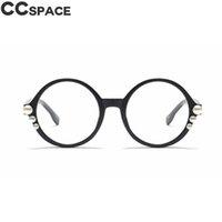 45631 Round Sexy Pearls óculos Frames Mulheres Estilos Ccspace Marca Designer Óptica Moda Computador Óculos 210529