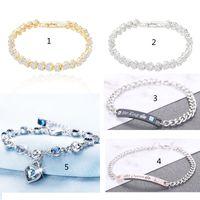 Letter Couple Bracelet Ocean Peach Heart Crystal Silver Plated Full Rhinestone Simple Fashion Jewelry Girlfriend Gift