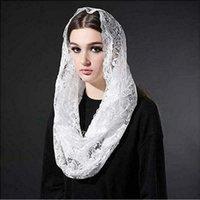 3m / 4m / 5m lungo rosso musulmano musulmano velo in pizzo nero, accessori avorio con applique floreale oro di alta qualità