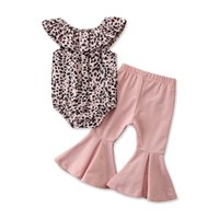Clothing Sets Fashion Two Piece Baby Girls 2PCS Set Clothes Leopard Ruffle Sleeveless Romper And Solid Color Trumpet Trousers Outfit
