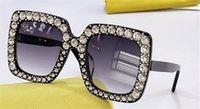 Neue Mode-Design-Sonnenbrille 0148s-Quadrat-Plattenrahmen mit Diamanten einfachen und beliebten Stil UV400-Schutzbrillen