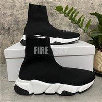 2021 En Kaliteli Paris Erkek Bayan Rahat Ayakkabılar Hız Eğitmenler Örgü Çorap Beyaz Siyah Haki Filigran Kutusu Boyutu 36-46