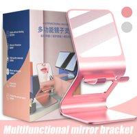 Metal Desktop Tablet Holder Support Desk Mobile Phone Holder with Makeup Mirror Cell Phone Holder in Box