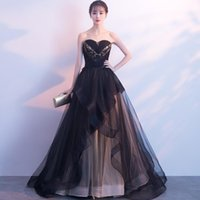 Ethnic Clothing Women Black Tube Top Long Evening Party Dress Vintage Exquisite Sequins Beading A-Line Tulle Formal Gown Backless Perspectiv