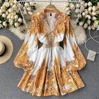 Cintura alta A-Line Vestidos Mulheres Outono Manga Longa Primavera Vintage Boho Festa Lace Dress Luxo Elegante 2021 Abridados Impressão