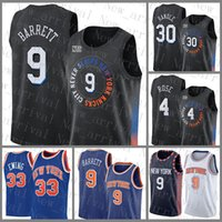 2021 Nuova Jersey di pallacanestro NuovoYork.Knicks Mens RJ 9 Barrett Patrick 33 Ewing Mesh Retro 30 Julius Randle 4 Derrick Rose Cheap Black Contrast Colore Blu