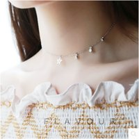 S925 Silver Women's Day Korea Personality Asymmetric Star Inlaid Diamond Chain Necklace Jewelry HBD659
