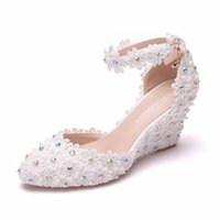 Women Sandals Wedding Party Lace PU Rhinestones Buckle Strap 7.5CM Wedges High Heels Pointed Toe Sandal Shoes Size 35-42