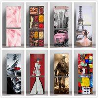 3D Pembe Kız Buzdolabı Sticker Kapı Kapağı Yenileme Yapıştırıcı Vinil Buzdolabı Çıkartmaları Duvar Kağıtları Duvar Sanatı Çıkartması Mutfak Dekorasyonu X0703