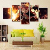 Pinturas 5 unids / set Desde Fairy Tail Natsu Fire Dragon Slayers HD Imprimir en la pintura de arte de la pared de lienzo para la decoración de la sala de estar 0gsz