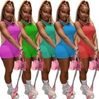 Trajes de verano mujeres sin mangas chándalsuits de dos piezas juegos chaleco + mini pantalones cortos impresión traje trajes de jogging yoga tenis fitness ropa deportiva slim sports prendas 2xl DHL 5384