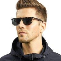 Carfia Mens Sunglasses Lentes Polarized Lentes Vintage Sun Óculos 100% UV Proteção 53572 Quadrado 54mm 4 cores com caso