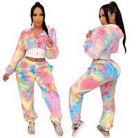 Women Tracksuits fall winter clothes sexy club printing fleece pants sports suits cardigan leggings outfits long sleeve bodysuits capris hoddies fitness 01570