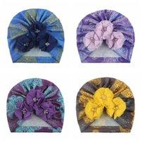 Caps & Hats 17*18 CM Vintage Print Baby Turban Hat Fashion Handmade Flowers Born Infant Headwear Hair Accessories Birthday Gifts