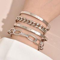 Accessoires chaîne personnalisée lisse lisse lisse bracelet bracelet bracelet à quatre pièces