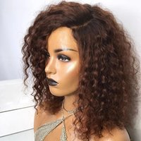 Brown Curly Human Hair 180 Density Wigs with Baby Hairs Full Lace Glueless Short Bouncy Curl Wig for Black Women 360 fontal wigss bleached knots