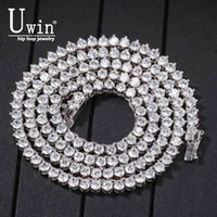 Uwin 4mm 3 Prong Tennis Chain Cubic Zircon Stone Iced Out Hip Hop Mens Bling Necklace 18inch 20inch 24inch X0509