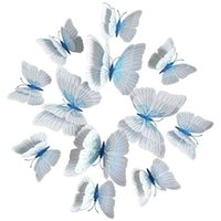 Wall Stickers 3D Butterfly Decals Removable Decor Art Mural Double Wings Blue And White,24Pieces