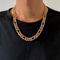 Chains SHIXIN Punk Rhinestones Cuban Link Chain Necklace For Men Hip Hop Shiny Crystal Collar Fashion Jewelry 2021 Gifts