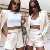 Women Solid Color Blazers Sets Fashion Trend Long Blazer Short Pants 2pcs Suits Designer Female Casual Loose Lapel Neck Single Breasted Suit