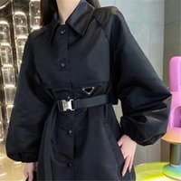 Casual Slim Waist Windbreaker Coat Designer Safety Buckle Coats Women Lapel Neck Delicate Jackets For Spring Autumn With Tags
