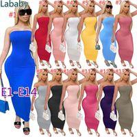 Frauen lange Kleid Designer aus Schulter Bandeau Slim Plissee Kleid Solide Farbe Tight Hight Stretch Dress Sexy Summer Club Rock 48 Arten