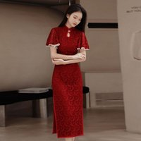 Ethnic Clothing Cheongsam Dress Modern 2021 Chinese Trational Red Lace Cheongsams Qipao Vintage Oriental Wedding Party Women Dresses Plus Si