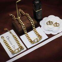 D Семейные ожерелья Ожерелье Женская Новая New Dijia Net Красная CD Письмо Браслеты Серьги