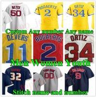 새로운 2021 남자 여성 청소년 34 David Ortiz Chris Sale Jerseys City Connect 11 Rafael Devers Red Bogaerts Verdugo Yastrzemski J.D. Martinez Sox 맞춤 야구 유니폼