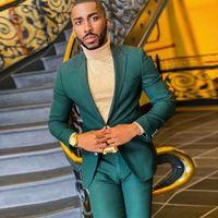 Hunter Men Suits Slim Fit Wedding Groom Tuxedos Peaked Lapel Bridegroom Suit Prom Wear Blazer 2pcs(Jacket+Pants)