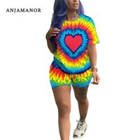 ANJAMANOR 2 Piece Set Cute Casual Sports Suit Matching Sets Women Fashion Outfit Summer 2020 Plus Size Tye Dye Clothes D52-AD85 X0612