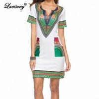 Lueiseny Plus Размер платье Женщины Туника повседневная Летние Плятины Платья Винтаж Африканский Принт Рубашка Vestidos Robe Femme Dathiki Платье Cocktai T0ns #