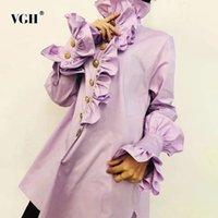 VGH camisa de platchwork sólido camisa para feminino tartleneck flare manga longa elegante blusa preta moda primavera