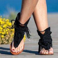 Sandals Women's Retro Gladiator Ladies Clip Toe Vintage Boots Casual Tassel Rome Fashion Summer Woman Beach Shoes Female 2022
