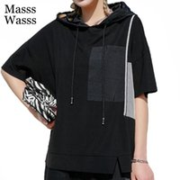Women's T-Shirt Masss Wasss Summer Punk Style 2021 Clothes Womens Solid Black Tshirt Ladies Hooded Short Sleeve Tees Girl Fitness Tops Plus