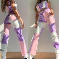Women's Jeans Streetwear Boyfriend High Waist Vintage Patchwork Straight Flare Wide Leg Pants Mom Denim Femme Trousers