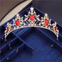 Hair Clips & Barrettes Diadem Gold Crystal Rhinestone Tiaras Headbands Royal Queen Bridal Headdress Bride Princess Wedding Crown Jewelry