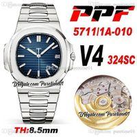 PPF V4 5711-1A-010 A324SC PP324SC Автоматические мужские часы D-синяя текстура Dilection Markers Маркеры из нержавеющей стали Браслет 8,5 мм Толщина Super Edition PureTime A1