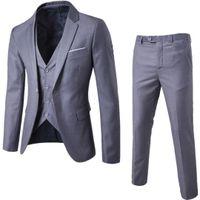 Hot Man Suit Business Formale Tempo libero Dress Slim Fit Gilet Three-Piece Groom Best Uomo Suits Blazer