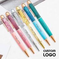 Ballpoint Pens Moda de logotipo personalizado Moda de oro colorido Metal Crystal Quicksand Oil Gel Gel Lápiz Oficina Regalos de boda