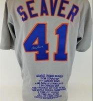 Tom Seaver imzalı imzalı imzalı oto oto kariyer vurgulamak stat salonu şöhret Hof Jersey Gömlek