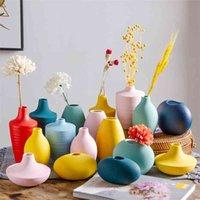 Nordic Small Vase Simple Modern Ceramic Ornament Flower Decorative Porch Living Arrangements Table TV Cabinet 210610