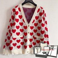 2021 mulheres de malha cardigãs casaco amor forma impressa tops moda v-decote botão senhora senhora casual elegante senhoras camisola de alta qualidade jaqueta