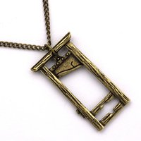 Gothic antique bronze silver Guillotine Necklace Link Chain French Guillotining Pendant Necklaces Guillotines Earings Goth Rock Dangler Goths Jewelry Set