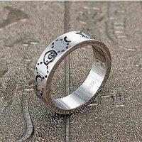 Mode 925 Sterling Silber Schädel Ring 6mm Street Liebhaber Party Geschenk Hochzeit Männer und Frauen Schmuck